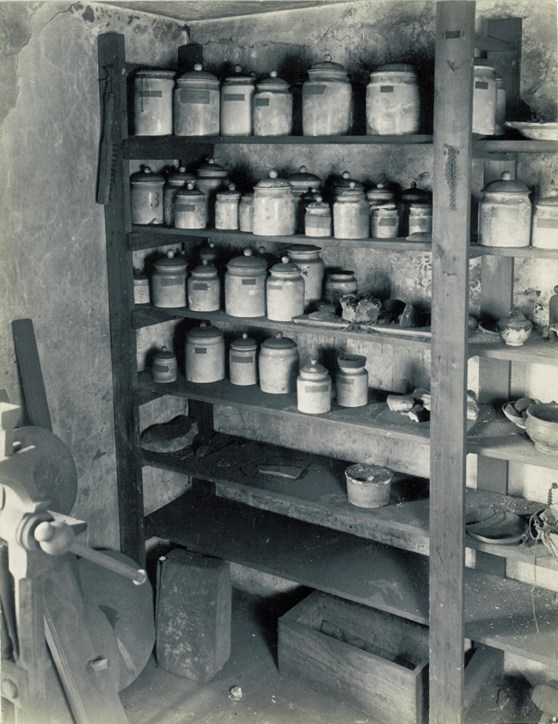 The corner of James Watt's workshop showing storage of jars of chemical substances
