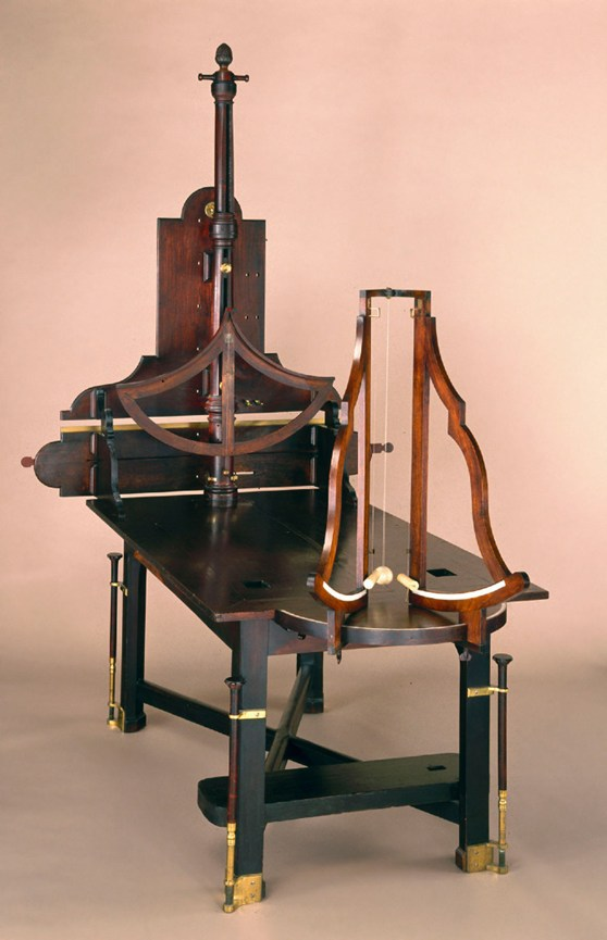 A philosophical table with collision apparatus from 1761 made from mahogany, brass and ivory