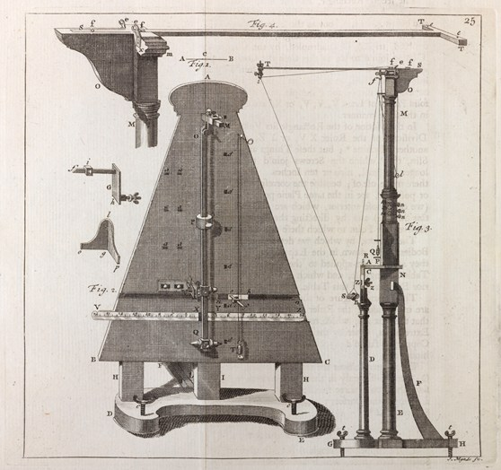 Detailed ink drawing of a machine for experiments on a pendulum moved by a spring