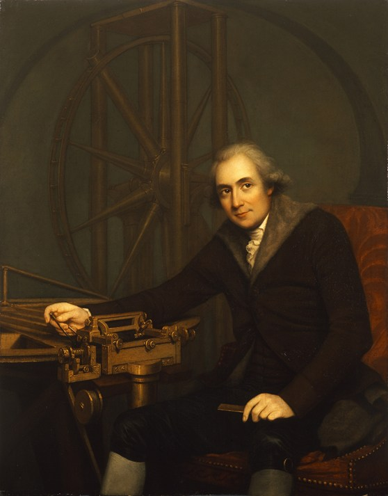 Oil painting portrait of Jesse Ramsden seated on a red upholstered chair beside a dividing engine