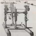 Detailed ink drawing of a machine for central forces