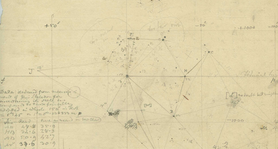Pencil drawing of star positions with written measurements