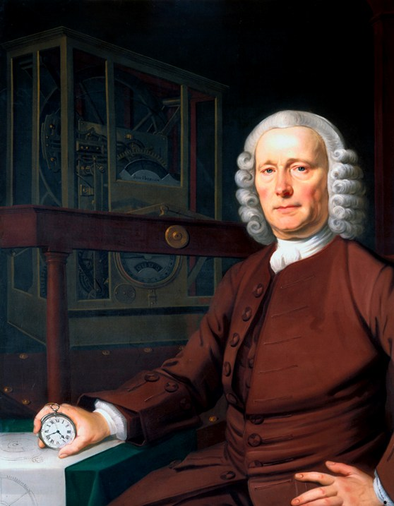 Oil painting portrait of John Harrison holding his marine chronometer