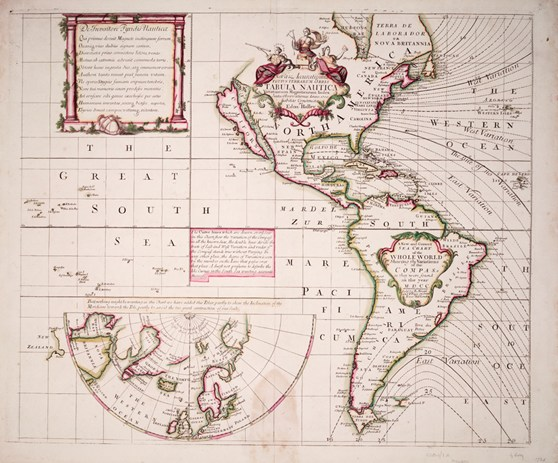 World sea chart from 1702 showing the Americas and lines of equal magnetic variation