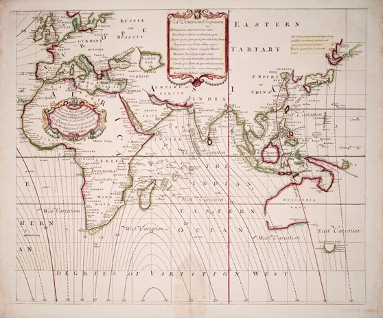 World sea chart from 1702 showing the Africa Asia and Europe and lines of equal magnetic variation