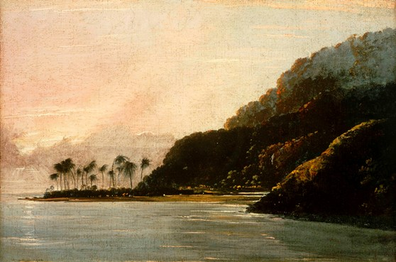Oil painting from 1776 of a tropical island coast at sunset
