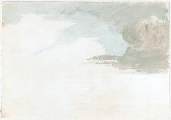 Grey and blue watercolour painting of a cloud formation
