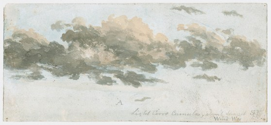 A watercolour painting of a cloud entitled light cirro cumulus about sunset