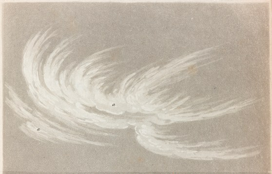 Print of an engraving showing a cirrus cloud formation