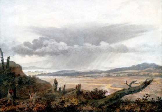 Watercolour painting of a rural landscape with a large cloud formation overhead