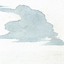 Simple watercolour painting in blue of a cloud