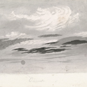 Grey watercolour painting of a cloud formation entitled cirrus