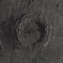 A black and white drawing of a crater in chalk pastel and crayon entitled Copernicus