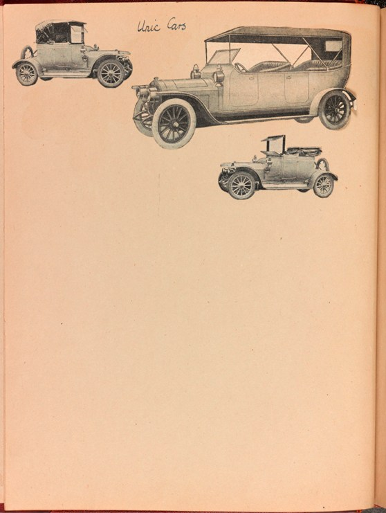 Page from a scrap book showing paper cuttings of different types of early 20th century automobiles
