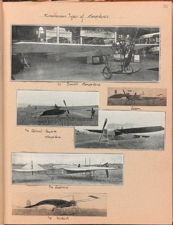 Page from a scrap book showing paper cuttings of different types of early 20th century monoplanes