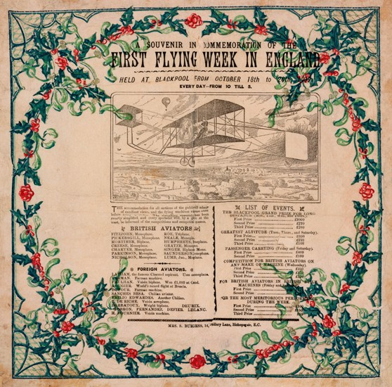 A commemorative and decorative poster from 1909 with information regarding the first flying week in England and a drawing of a monoplane