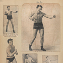 Page from a scrap book showing paper cuttings of a number of early 20th century male boxers in various poses