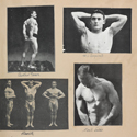 Page from a scrap book showing paper cuttings of a number of early 20th century male bodybuilders in various poses