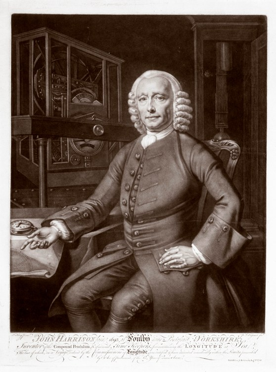 A mezzotint portrait of John Harrison from 1768 with calligraphic writing at the base relating to his interests and achievements