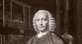 A mezzotint portrait of John Harrison from 1768