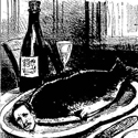 A black and white drawing in a magazine of a cooked fish on a plate with a moustachioed man's head