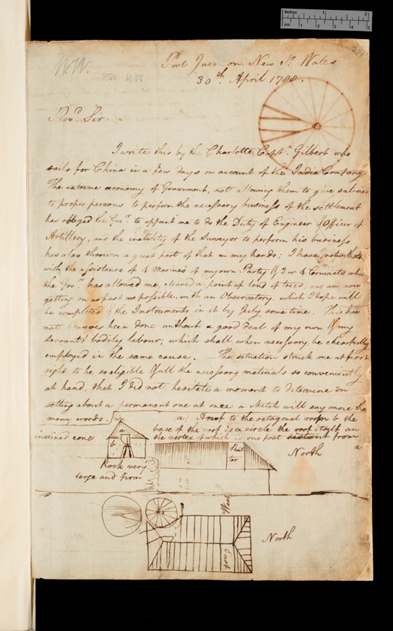 A handwritten letter in ink from 1700 with sketches
