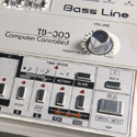 Close up view of a well used TB303 Bass Line synthesizer