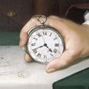 Part of an oil painting portrait of John Harrison showing a close up view of his hand holding his marine chronometer