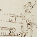 A page of pen and ink notes and sketches relating to longitude observation using a telescope from 1788