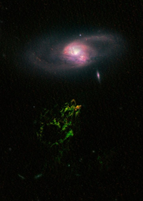 A colour image of the voorwerp anomoly in deep space taken by telescope