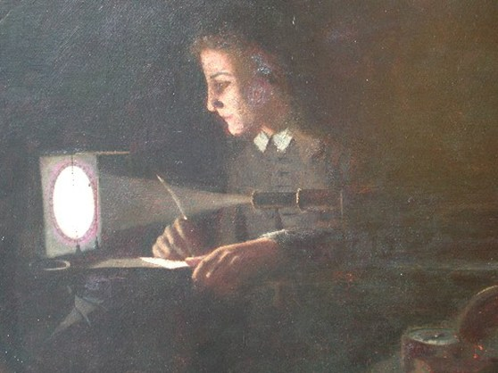 Oil painting of Jeremiah Horrocks witnessing the transit of Venus via a telescopic projection onto white paper
