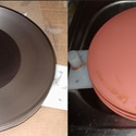 Two adjacent colour photographs one showing a part processed copper shell on wax master the other showing the preparation for electroforming