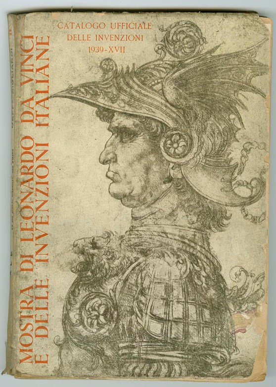 Front cover of the 1939 exhibition showing Leonardos ink drawing of the profile of an armoured soldier