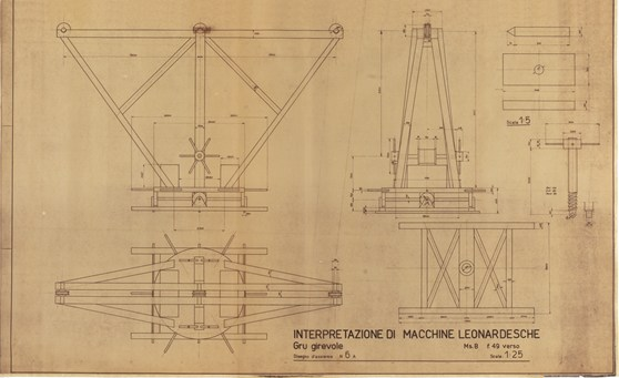 Technical drawing in ink for a model of a rotating crane