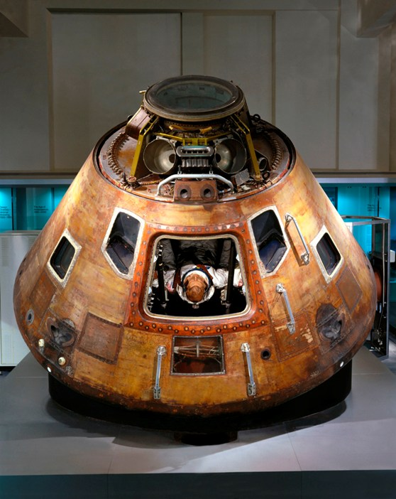 Colour photograph of the Apollo 10 command module on display in the Science Museum London
