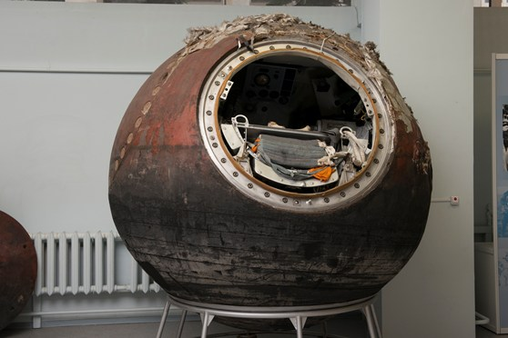 Colour photograph of a spherical soviet descent module