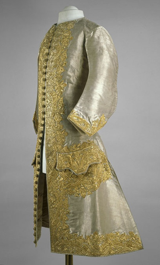 Colour photograph of a finely embroidered dress suit made for the coronation of Peter 2 of Russia
