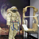 Colour photograph of a display of early soviet moon exploration space suits