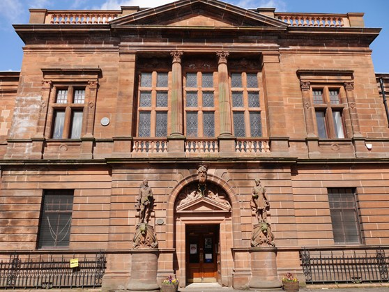 Colour photograph of the facade of the Fairfield Govan building