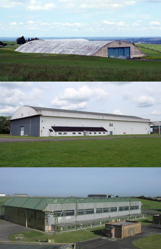 A set of three colour photographs showing the outdoor storage warehouse units at Wroughton