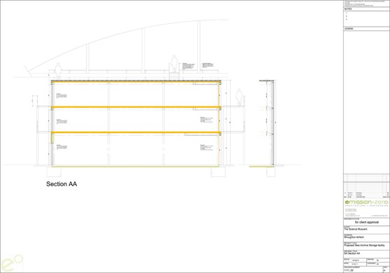 Architects line drawing plan of a storage hangar
