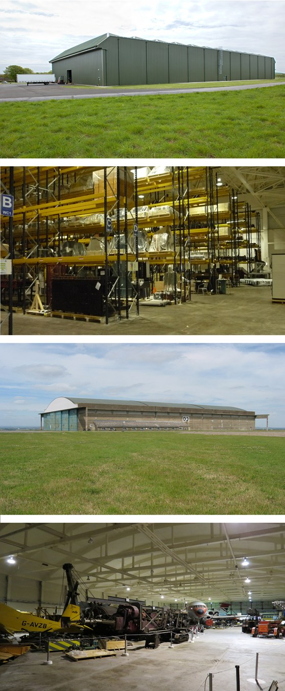 A set of four colour photographs showing a large green storage hangar, the interior of C1 hangar showing repainted interior and long-span racking, a large steel and concrete storage hangar and the interior of a storage hangar with stored heavy machinery aeroplanes and automobiles