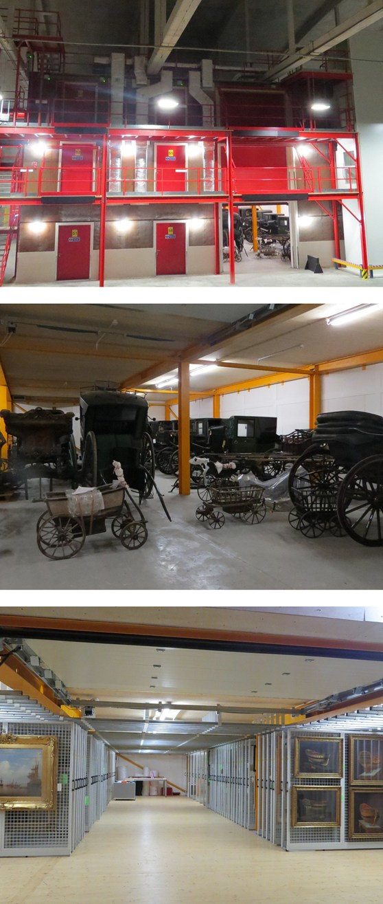 A set of three colour photographs showing the newly completed storage area in use, a collection of horse drawn carriages being stored in the newly completed storage area and artworks being stored on the second floor of the storage area