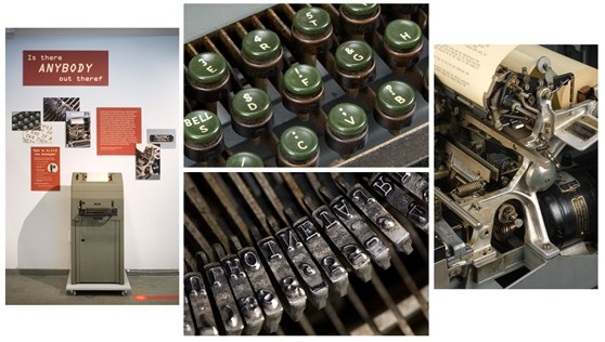 Collage of 4 colour photographs showing a 1930s teleprinter on display along with detail close ups of its keys types and mechanism