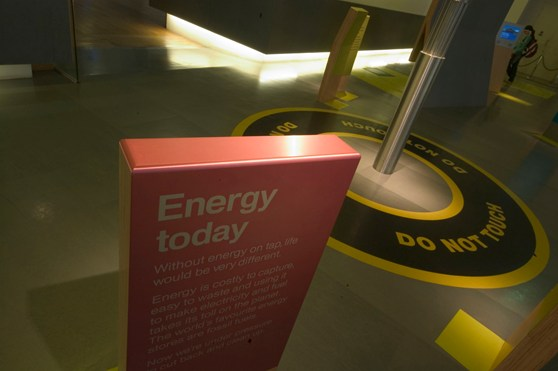 Colour photograph of a section of the Energy gallery in the Science Museum London