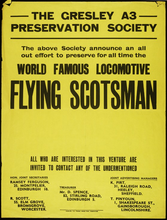 A poster from the Cresley A3 preservation society requesting voluntary aid to help preserve the Flying scotsman steam train