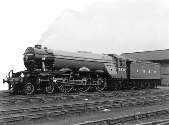 Black and white photograph of the Flying Scotsman steam train after restoration in the 1960s