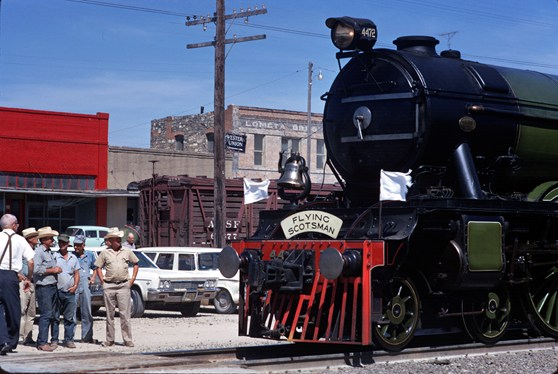Colour photograph of the Flying Scotsman steam train after restoration in the 1960s in Texas USA