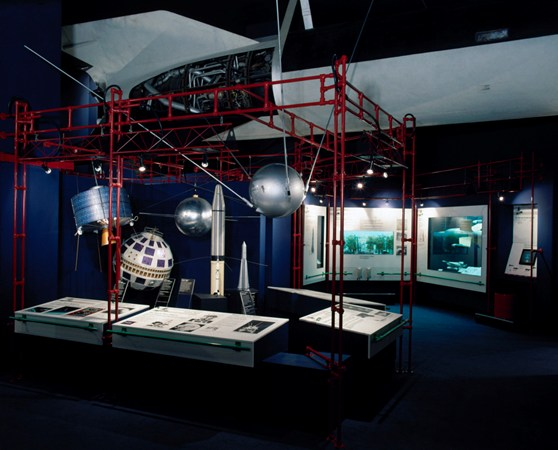 Colour photograph of a section of the space exploration gallery at the Science Museum London