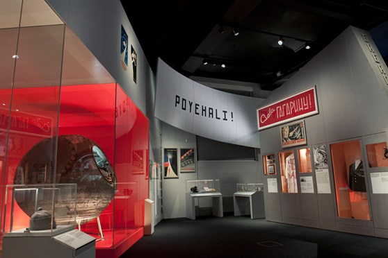 Colour photograph of a section of the Cosmonauts exhibition showing one of the landing craft